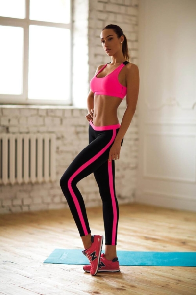 Комплект Basic Pink Low Rise (топ+лосины), фото №1 - Designed For Fitness