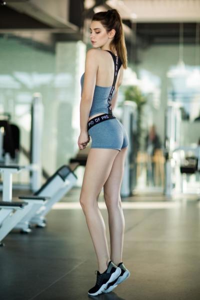 Комплект Fitness Grey Shorts (топ+шорты), фото №1 - Designed For Fitness