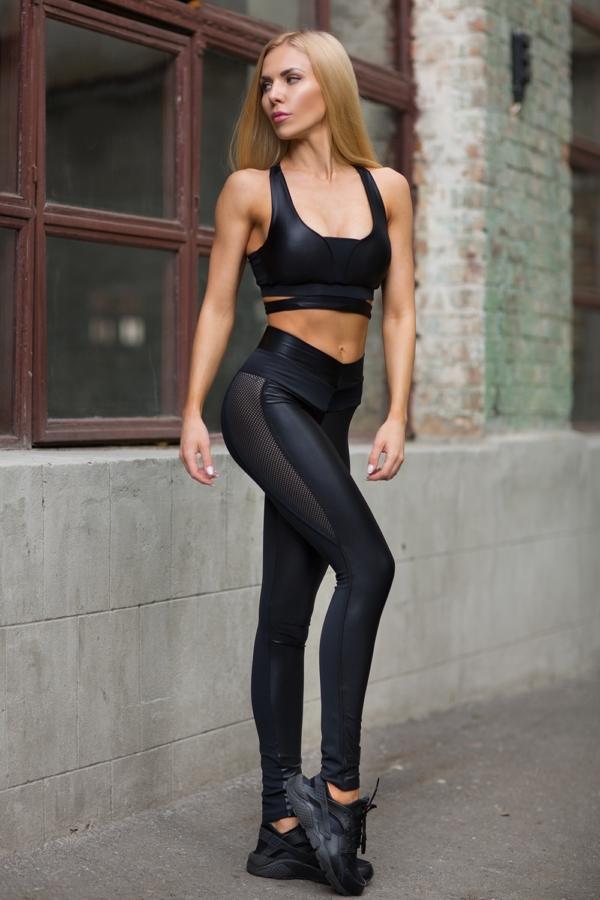Комплект Disco Black (топ+лосины) - Designed For Fitness