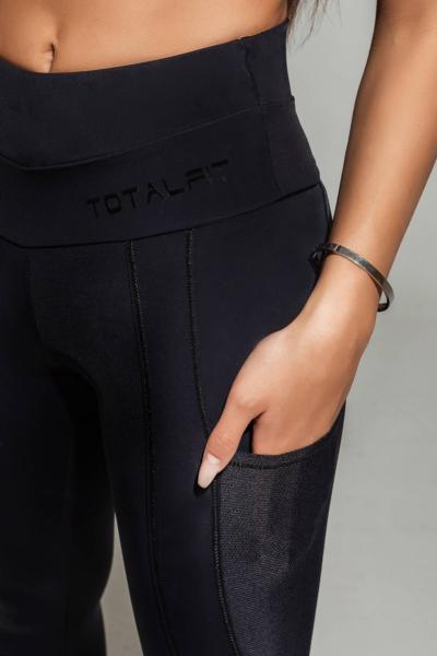 Спортивные корректирующие бриджи-утяжка для фитнеса TotalFit Satin Black, фото №1 - Designed For Fitness