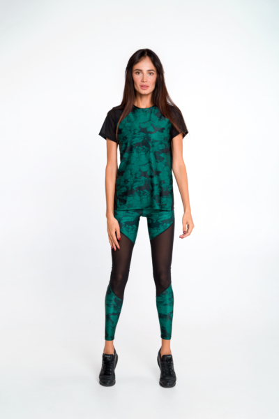 Спортивный комплект Marble Emerald DF (футболка+лосины), фото №1 - Designed For Fitness