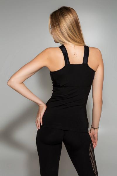 Спортивный топ для фитнеса TotalFit Satin Black (удлиненный), фото №1 - Designed For Fitness