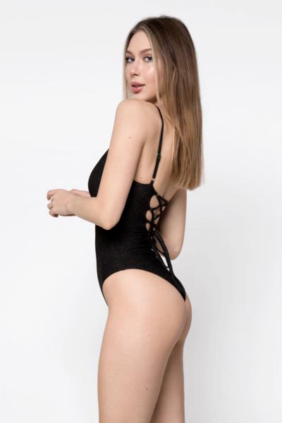 Купальник сдельный Glam Lurex Black DF, фото №1 - Designed For Fitness